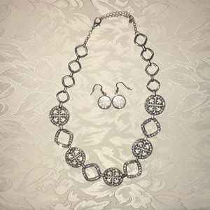 Costume silver necklace with crystal